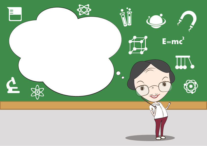 An illustration of a teacher in front of the board