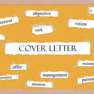 Cover letter standing out among words on a board
